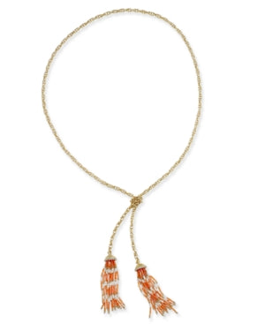 Thalia Sodi Gold-Tone Beaded Lariat Necklace