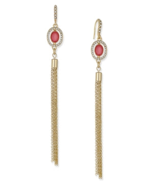I.N.C. Gold-Tone Pink Stone Tassel Drop Earrings