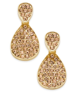 Inc International Concepts Gold-Tone Pink Pave Front-Back Earrings