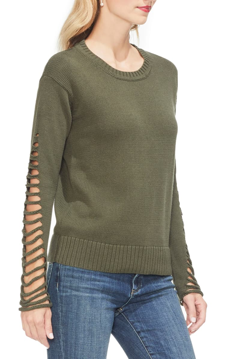 Vince Camuto Womens Cotton Cut-Out Crewneck Sweater