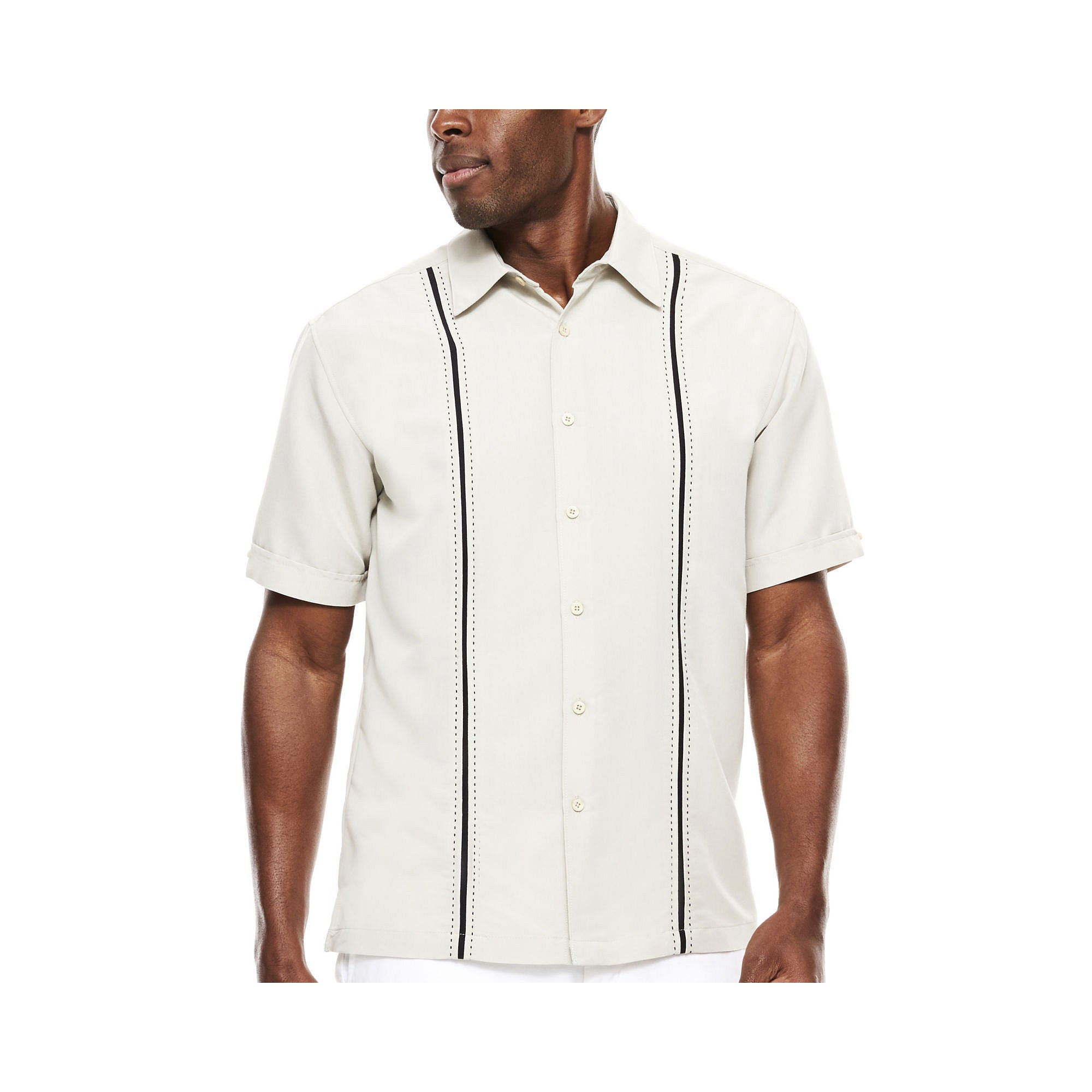 Perry Ellis The Havanera Co. Short-Sleeve Pickstitch Panel Shirt