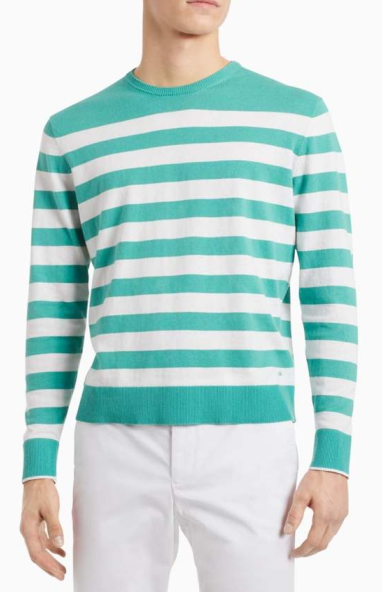 Calvin Klein All-Over Stripe Logo Crew Neck Pullover Jumpers