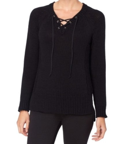 CATHERINE Womens Black Tie Long Sleeve V Neck Sweater