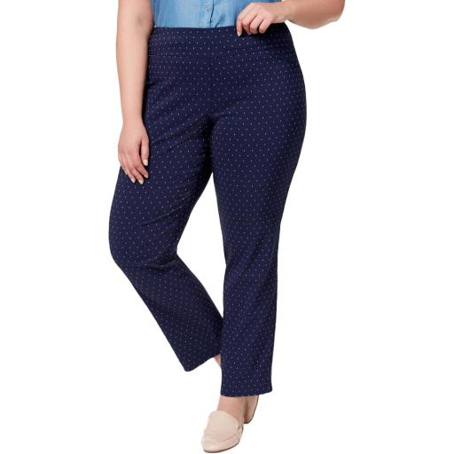Charter Club Womens Plus Pindot Slim Dress Pants