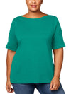 Karen Scott Womens Plus Cotton Boatneck T-Shirt