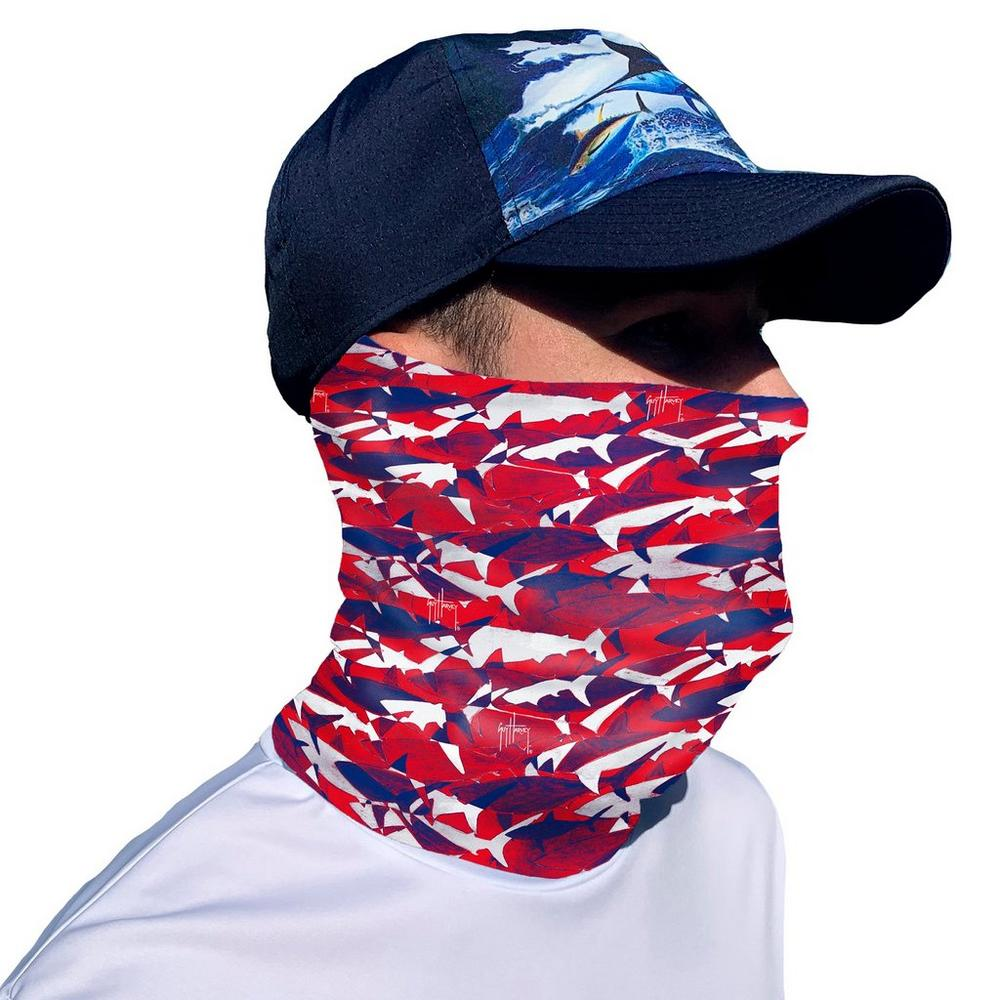 Guy Harvey Mens USA Shark Face & Neck Gaiter