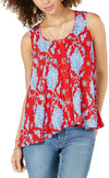 Style & Co Printed Sleeveless High-Low Swing Top