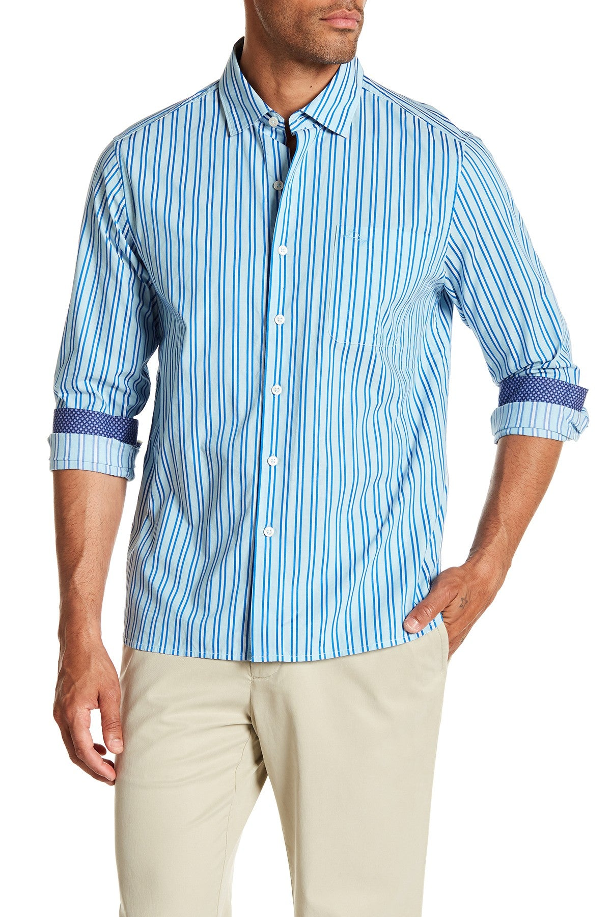 Tommy Bahama Surf The Line Long Sleeve Shirt - Riviera Azure Blue