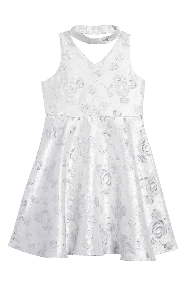 Pippa & Julie Girls' GiGi Floral Jacquard Dress - Big Kid