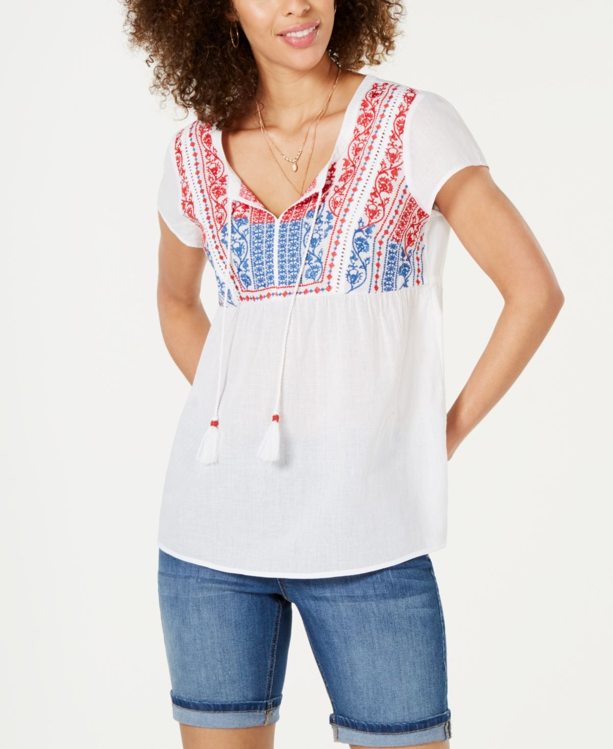 Style & Co Embroidered Tassel Top - Summertime Delight
