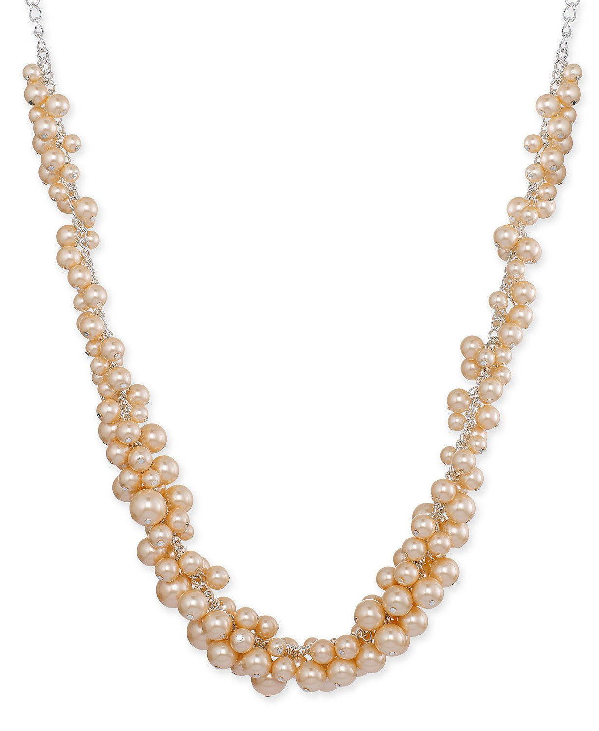 Charter Club Silver-Tone Pink Imitation Pearl Cluster Collar Necklace