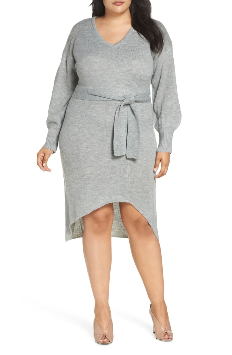 Lost Ink Plus Belted Knit Dress