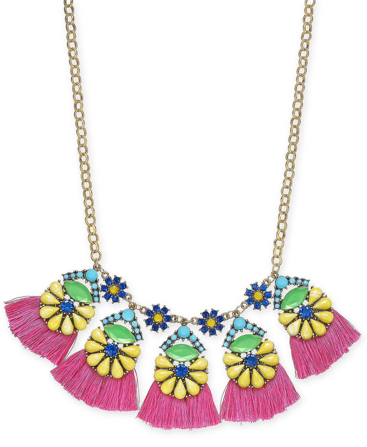 "I.N.C. Gold-Tone Multicolor Bead Flower & Tassel Statement Necklace, 18"" + 3"" extender"