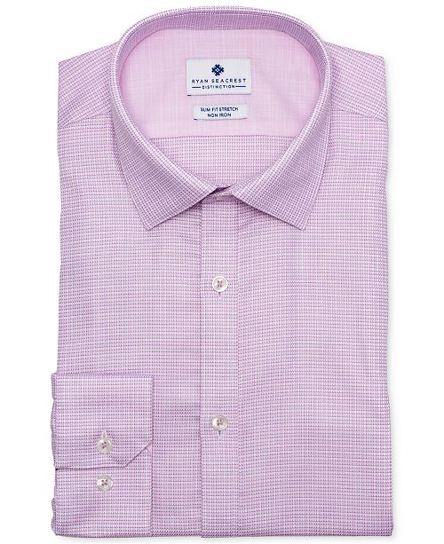 Ryan Seacrest Distinction Men's Ultimate Slim-Fit Non-Iron Performance Stretch Rose Dobby Dress Shir