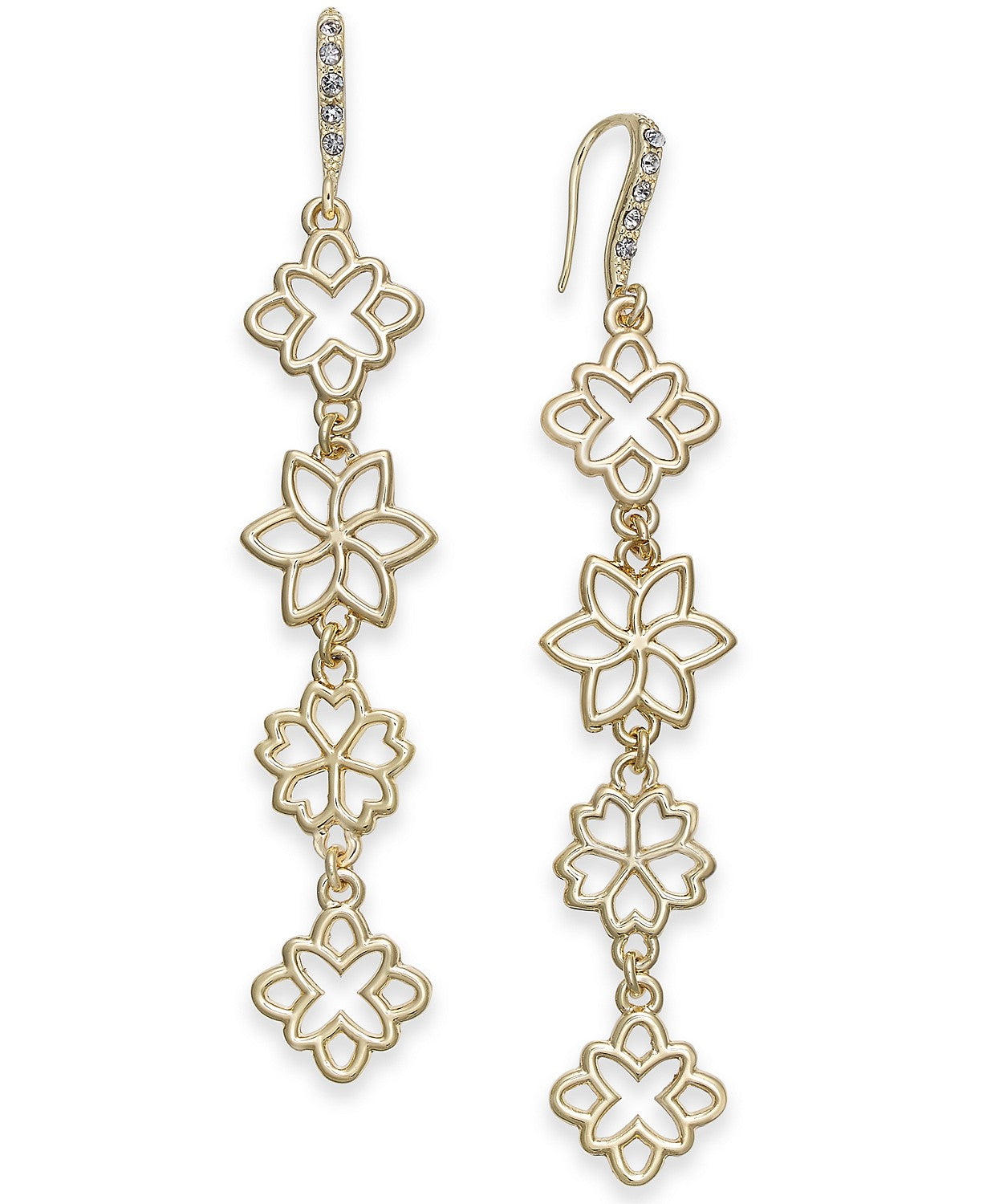 I.N.C. Gold-Tone Flower Linear Drop Earrings