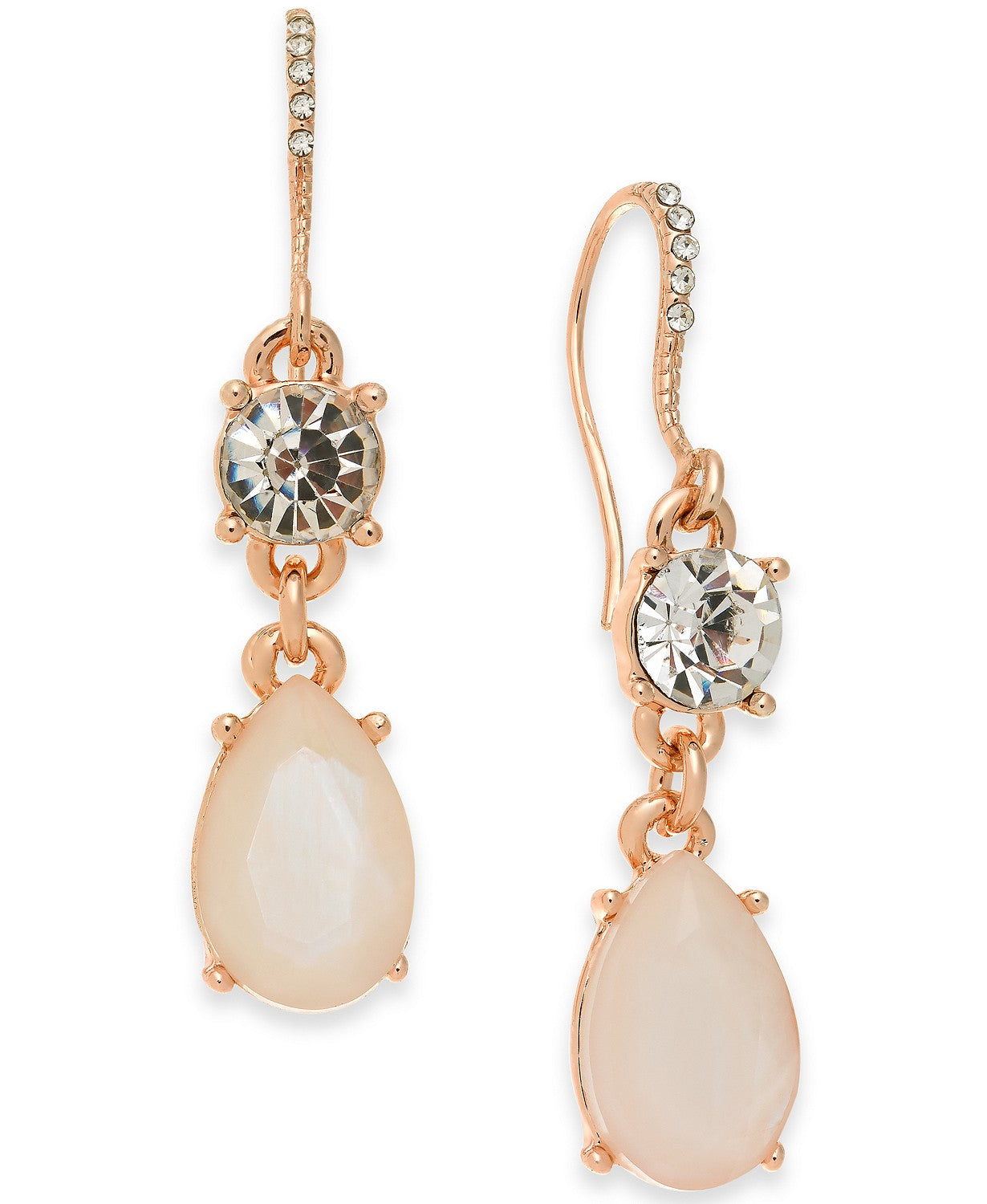 Gold-Tone Crystal & Stone Double Drop Earrings