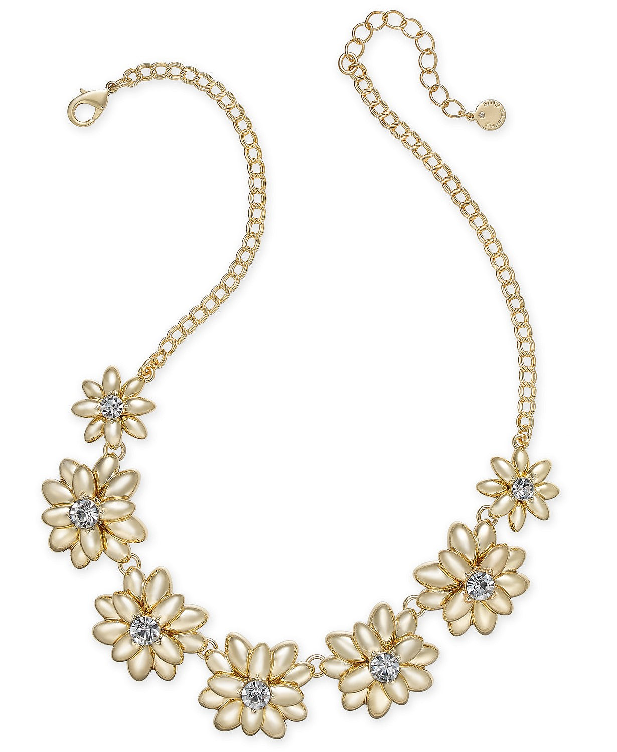 "Charter Club Gold-Tone Crystal & Stone Flower Statement Necklace, 17"" + 2"" extender"