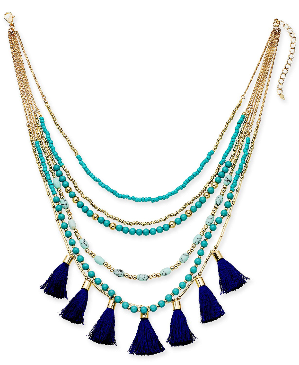 "I.N.C. Gold-Tone Bead & Tassel Multi-Layer Necklace, 16"" + 3"" extender"