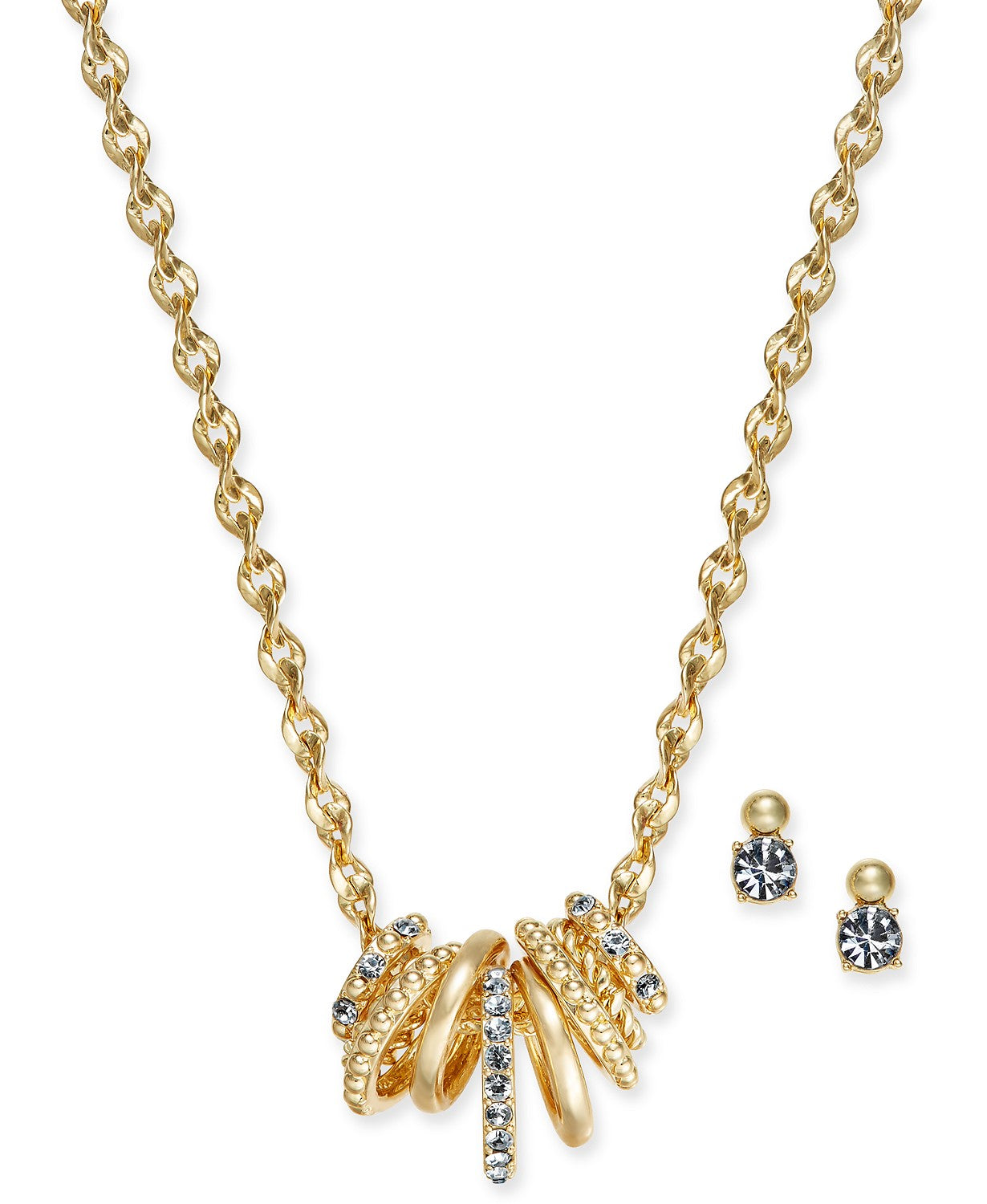 Charter Club Gold-Tone 2-Pc. Set Multi-Ring Pendant Necklace and Crystal Stud Earrings