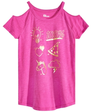 Epic Threads Big Girls Cold Shoulder Graphic-Print T-Shirt