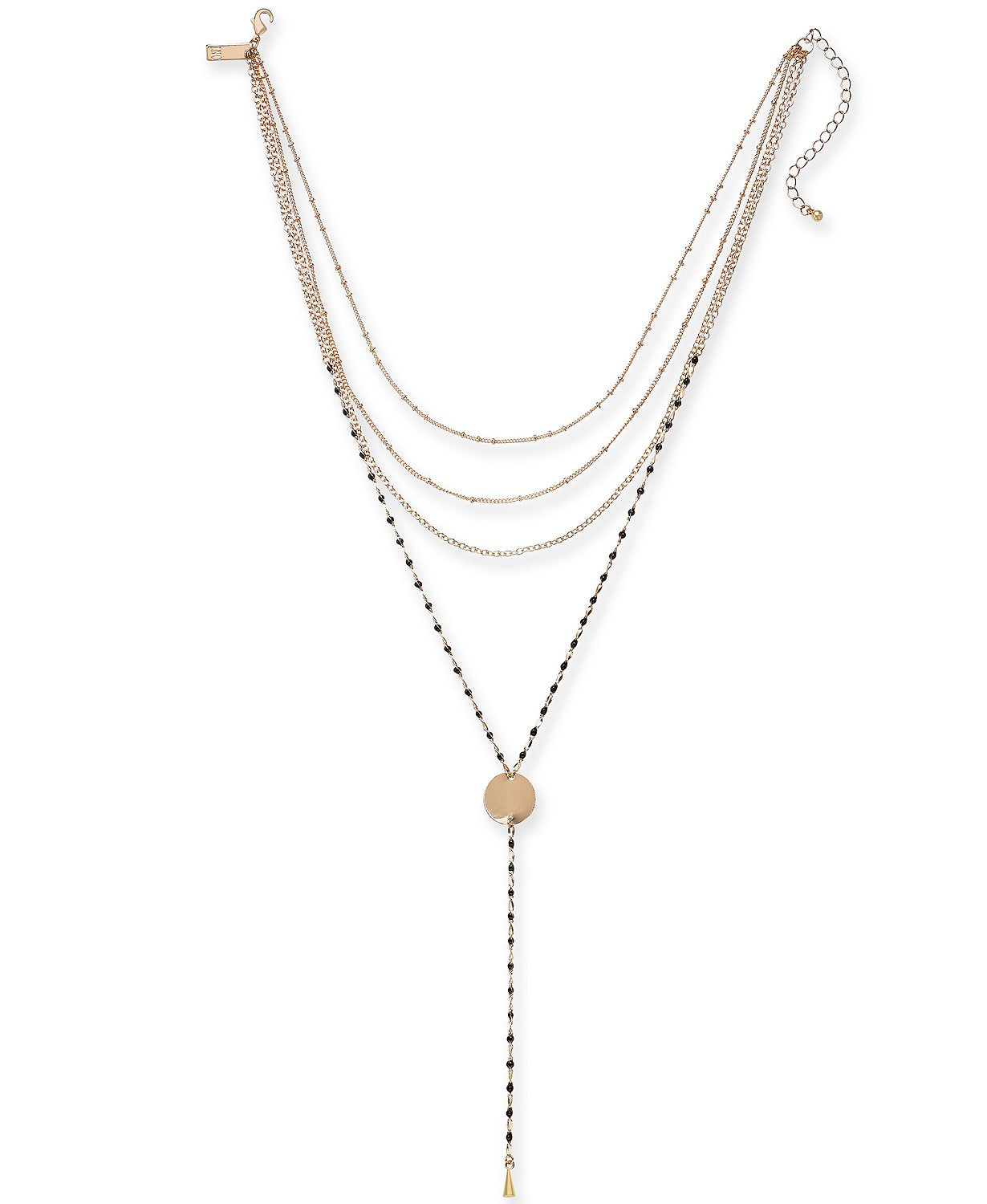 "I.N.C. Gold-Tone & Colored Bead Layered Lariat Necklace, 14"" + 3"" extender"