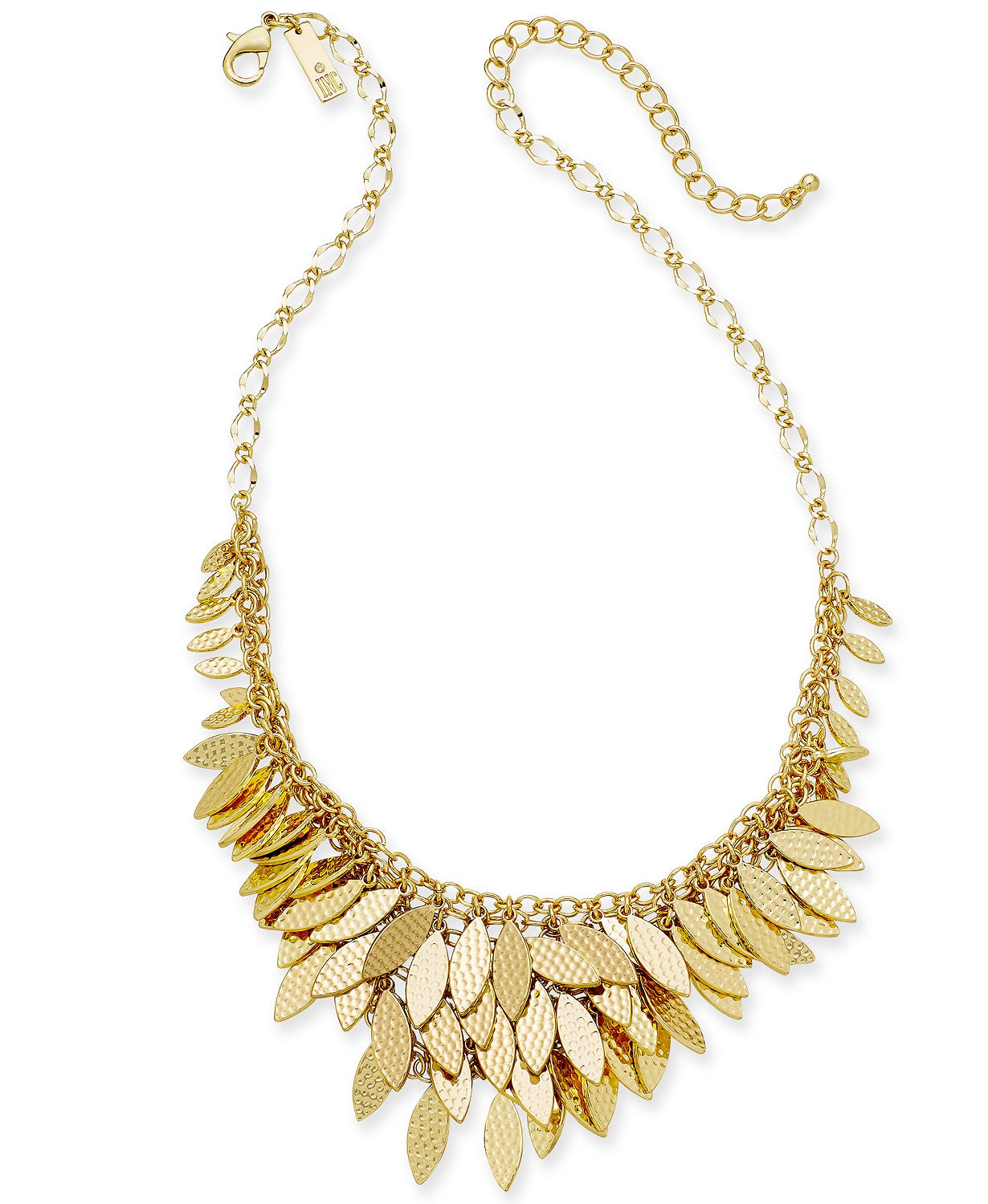 "I.N.C. Gold-Tone Layered Leaf Statement Necklace, 17"" + 3""extender"