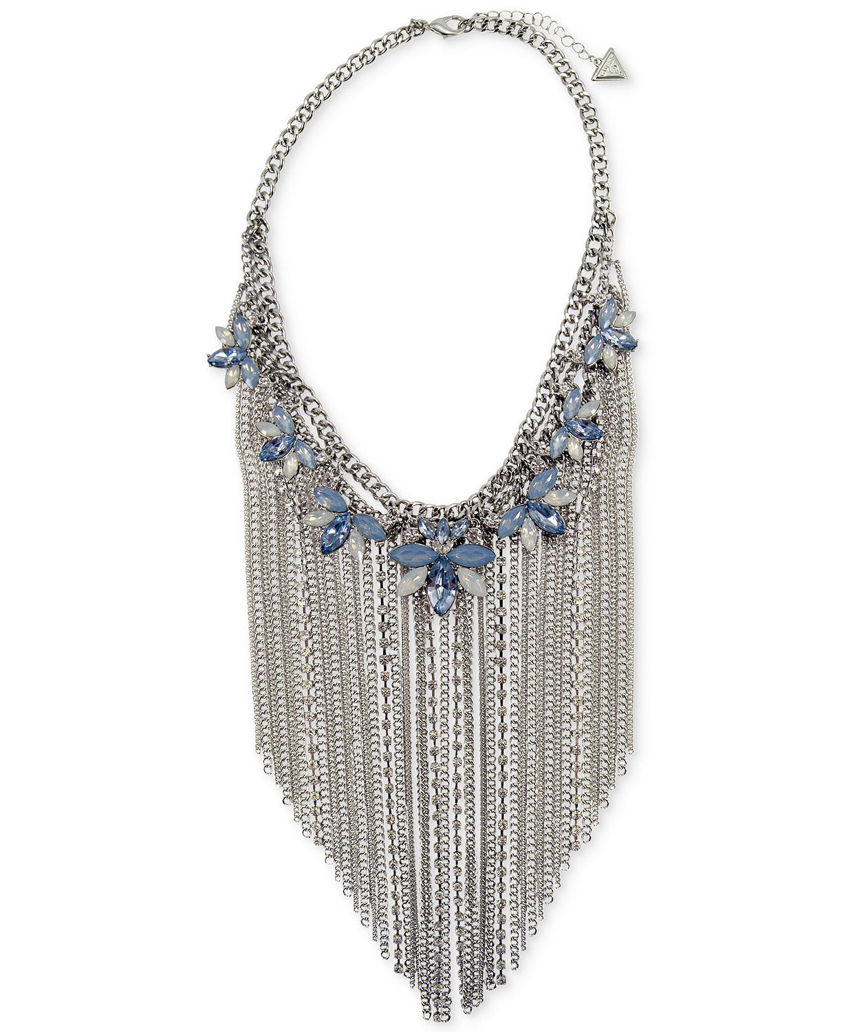 "GUESS Silver-Tone Crystal & Stone Flower with Chain Fringe Statement Necklace, 16"" + 2"" extender"