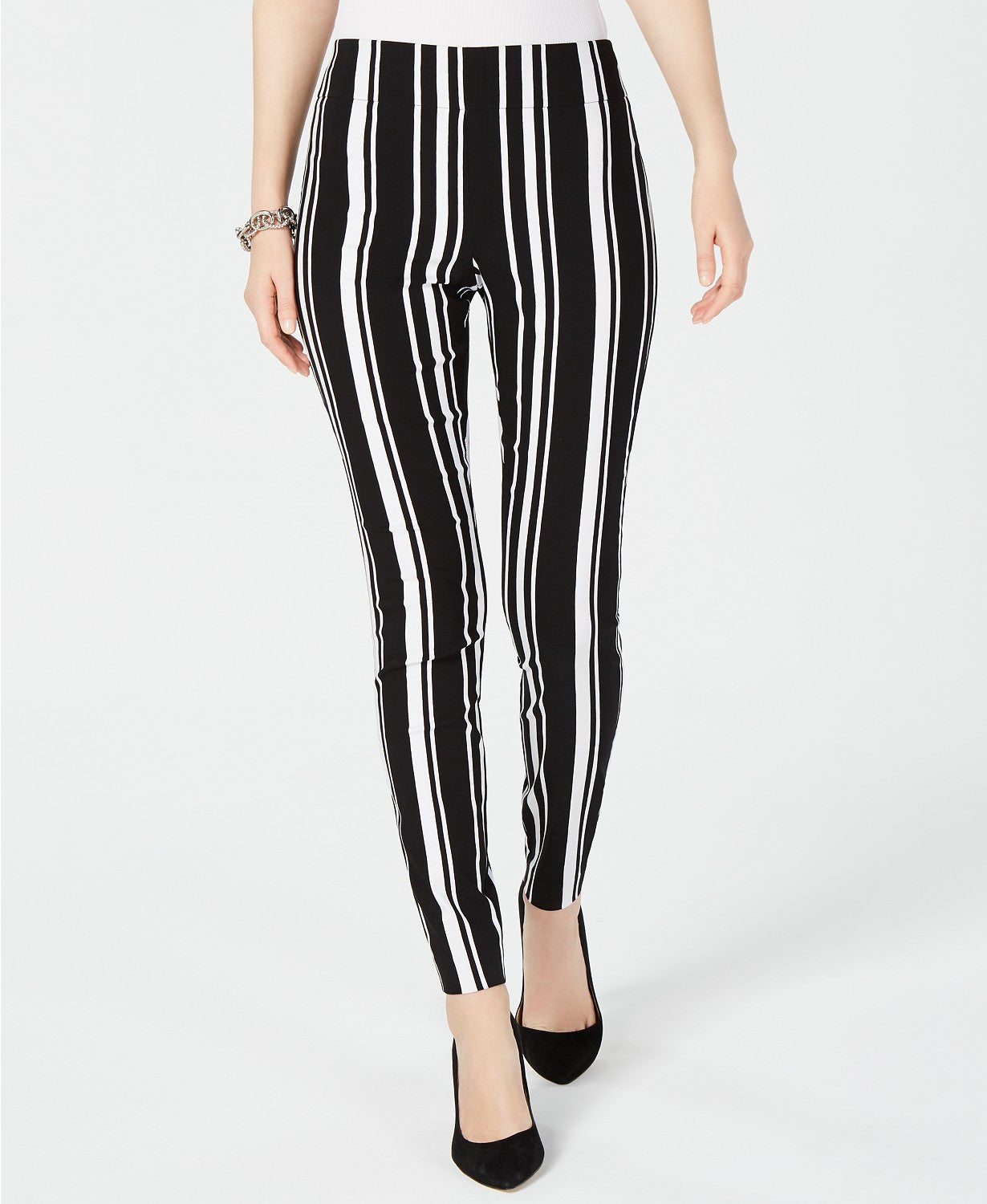 INC Petite Pull-On Striped Skinny Pants