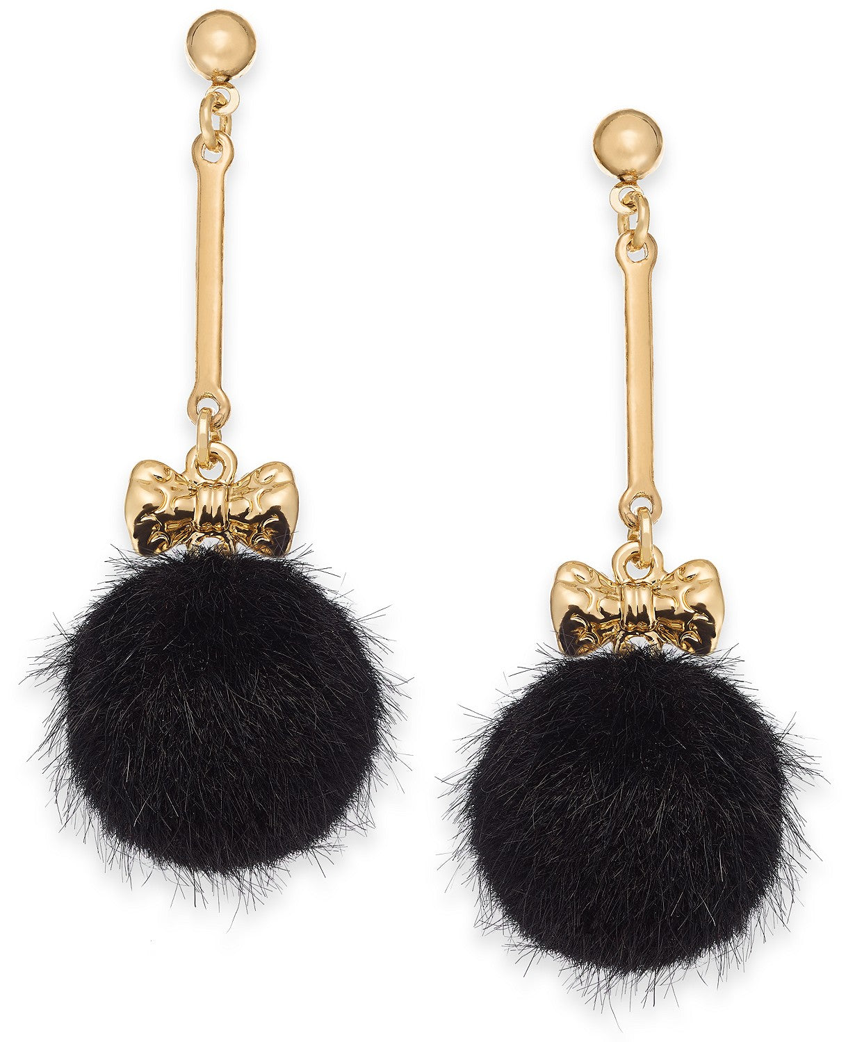 INC International Concepts GoldTone Bow Faux Fur Ball Black
