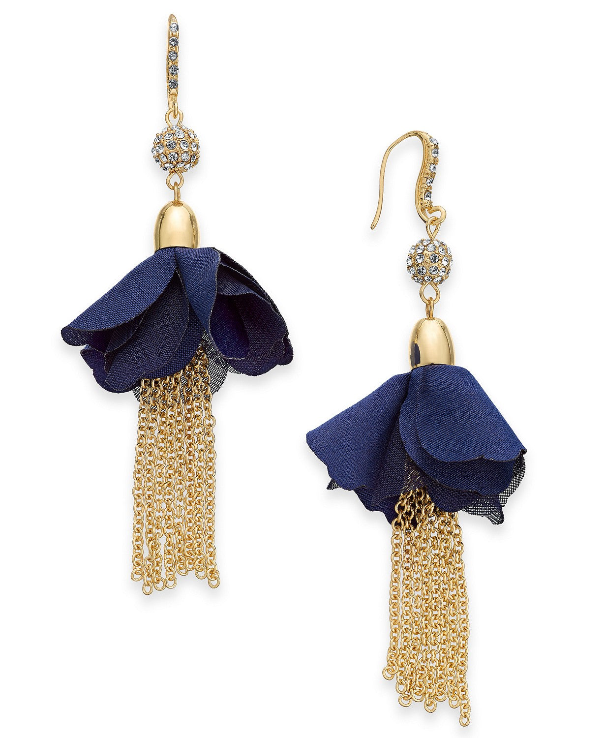 INC Gold-Tone Crystal Bead, Fabric Flower & Chain Tassel Drop Earrings