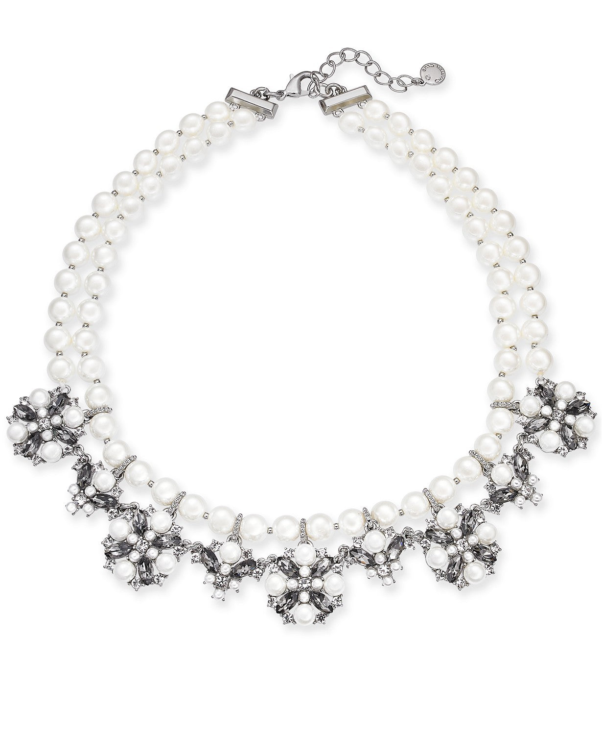 Charter Club Silver-Tone Imitation Pearl, Crystal & Stone Double Row Collar Necklace, 17 + 2 Extender