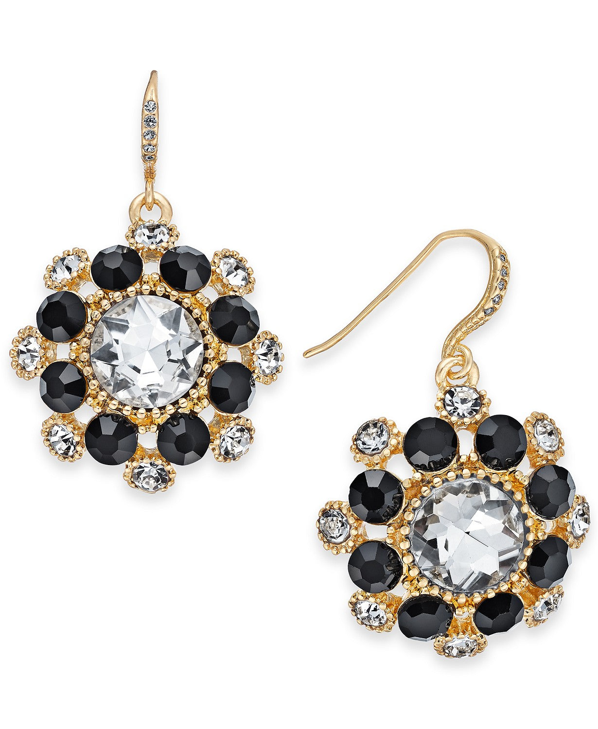 Charter Club Gold-Tone Crystal & Stone Cluster Drop Earrings