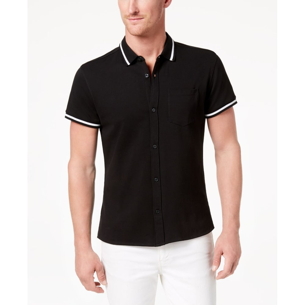 Kenneth Cole Black Mens Tipped Collar Polo Rugby Shirt
