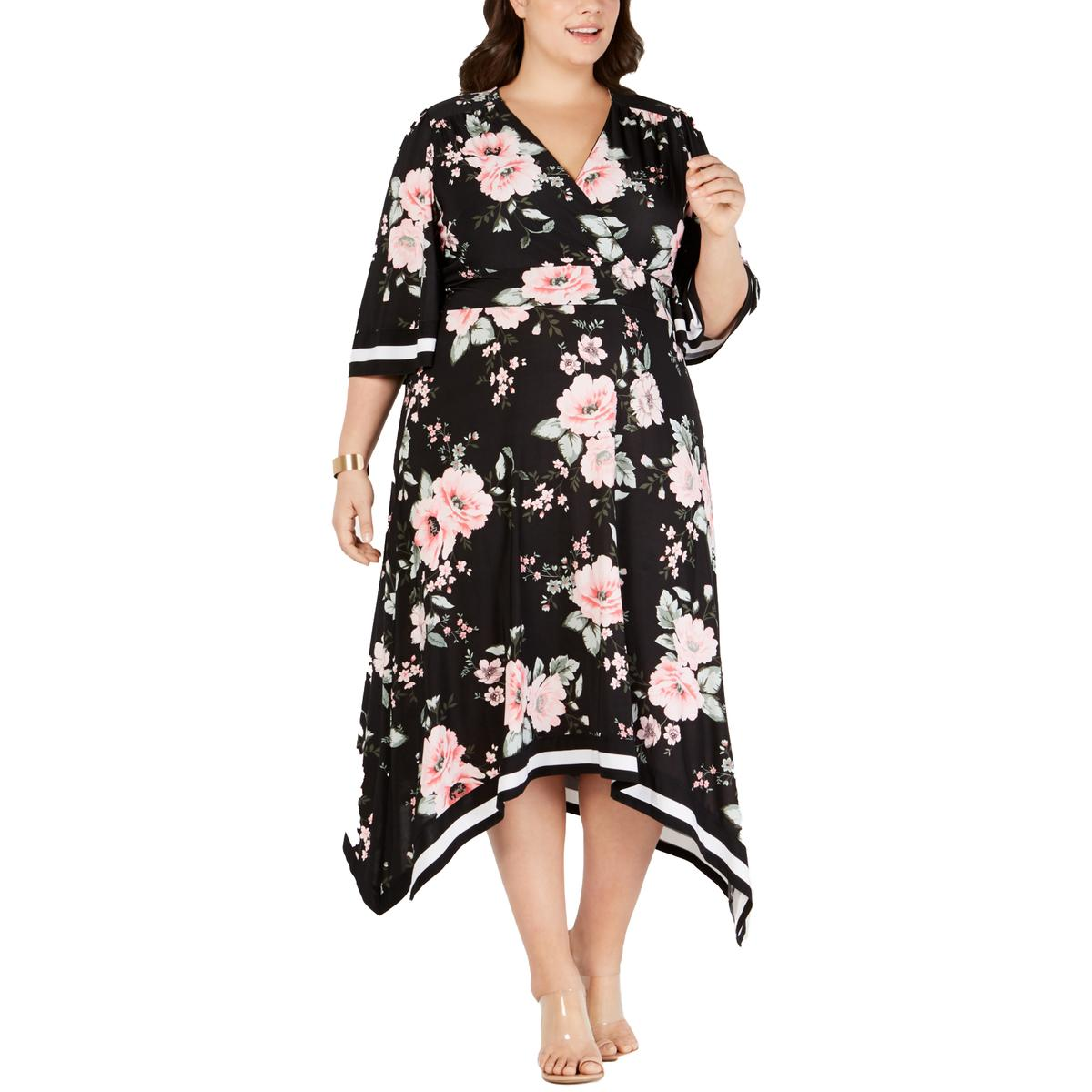 INC  Womens Plus Floral Kimono Midi Dress