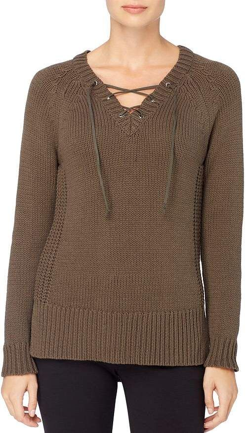 Catherine Malandrino Prue Lace-up V-Neck Sweater