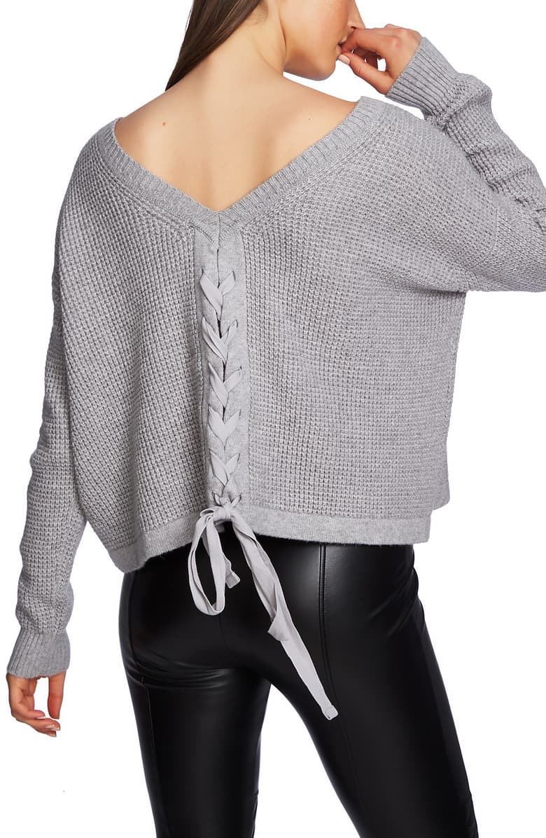 1.state Waffle-Knit Lace-up-Back Sweater