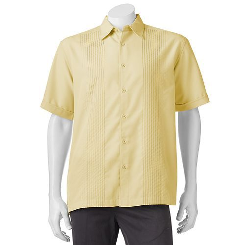Perry Ellis Havanera Texture-Striped Embroidered Shirt