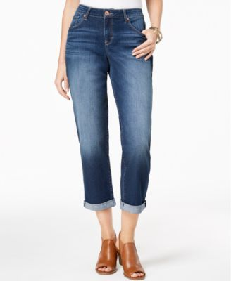 Style & Co Curvy-Fit Cuffed Boyfriend Jeans