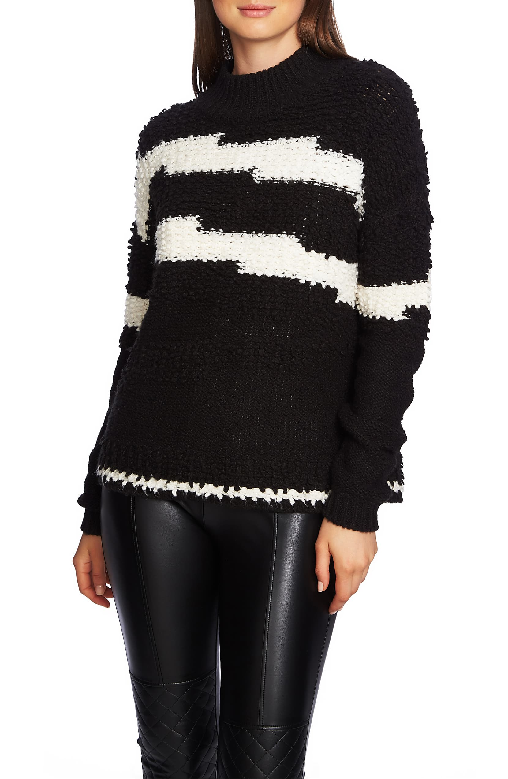 1.State Womens Textured Mock Neck Pullover Sweater