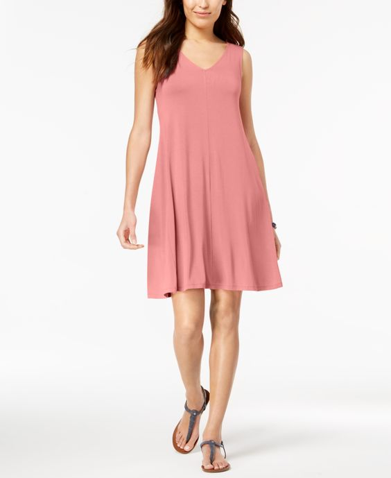 Style & Co Petite Cross-Back Swing Dress