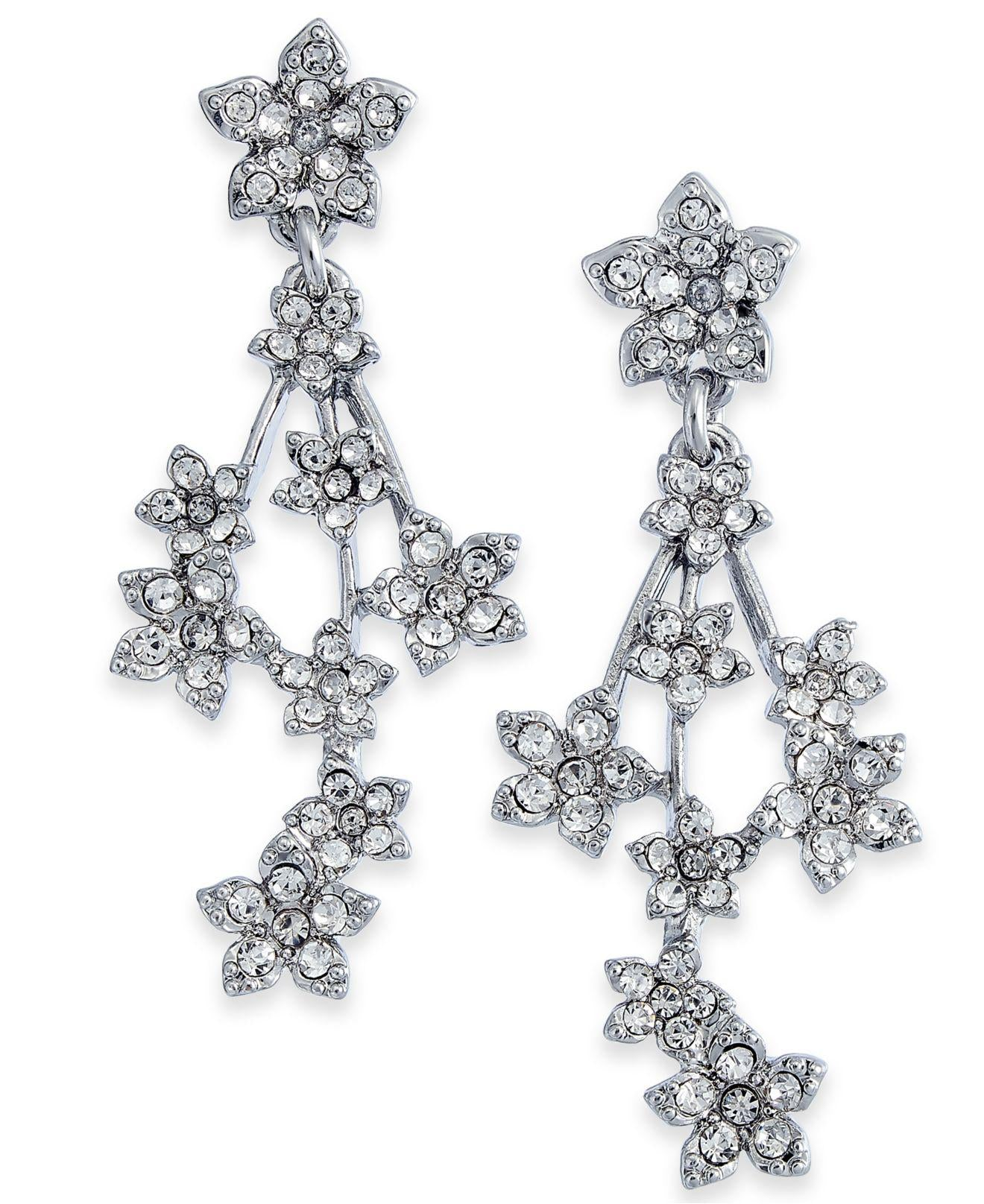 INC Silver-Tone Crystal Flower Cluster Linear Drop Earrings