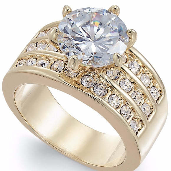 Gold Tone Crystal Cubic Zirconia Triple Row Ring