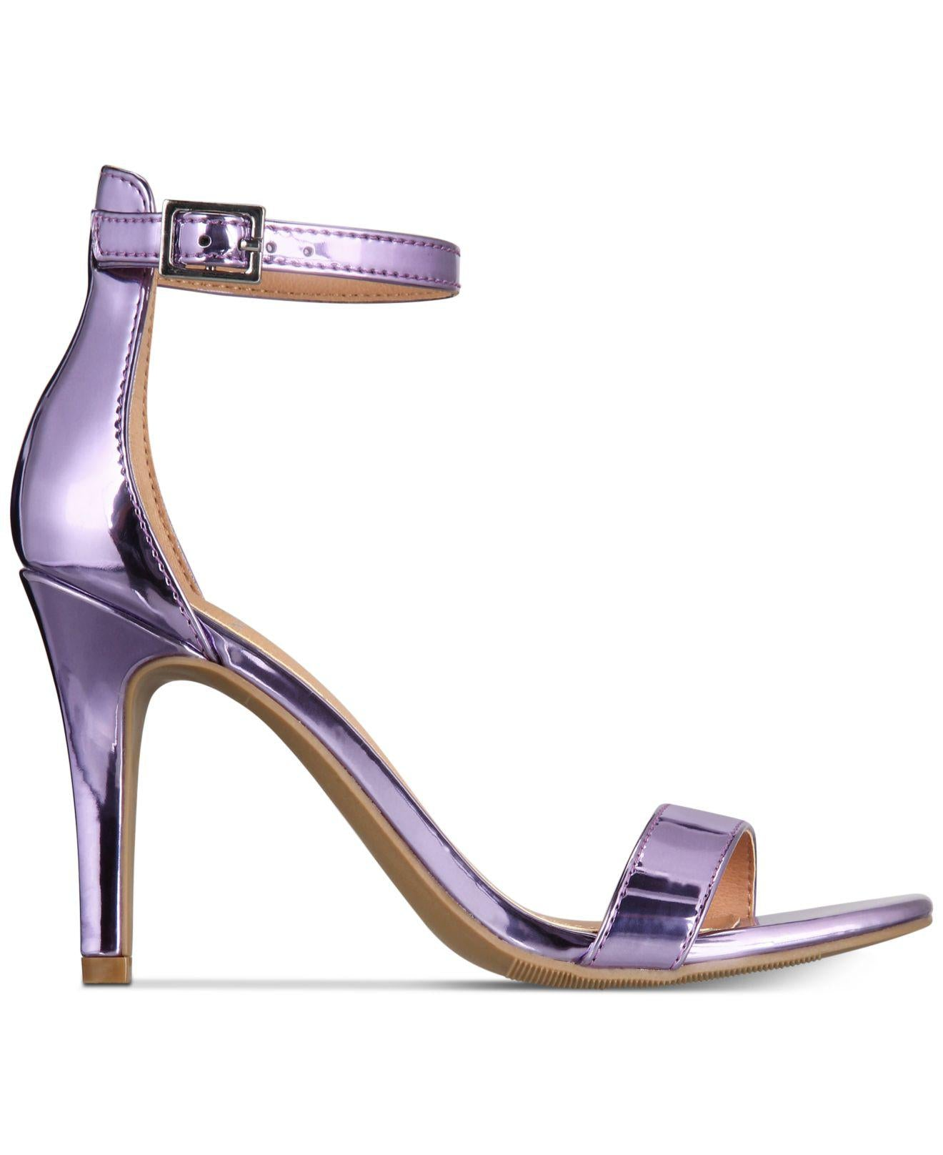 Material Girl Blaire Two-Piece Dress Sandals Lilac Metallic