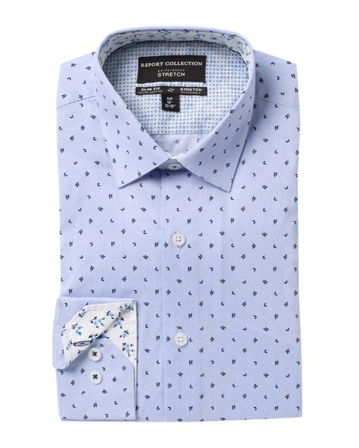 Report Collection Men's Blue Slim Fit Leaf Print Dress Shirt