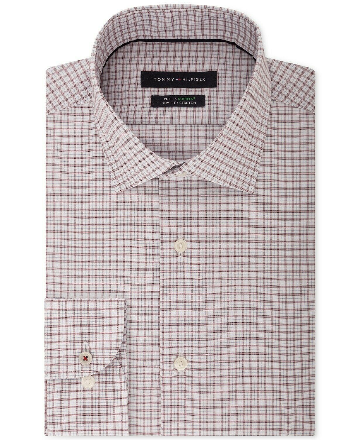 Tommy Hilfiger Men's Slim-Fit Th Flex Performance Stretch Non-Iron Red Check Dress Shirt