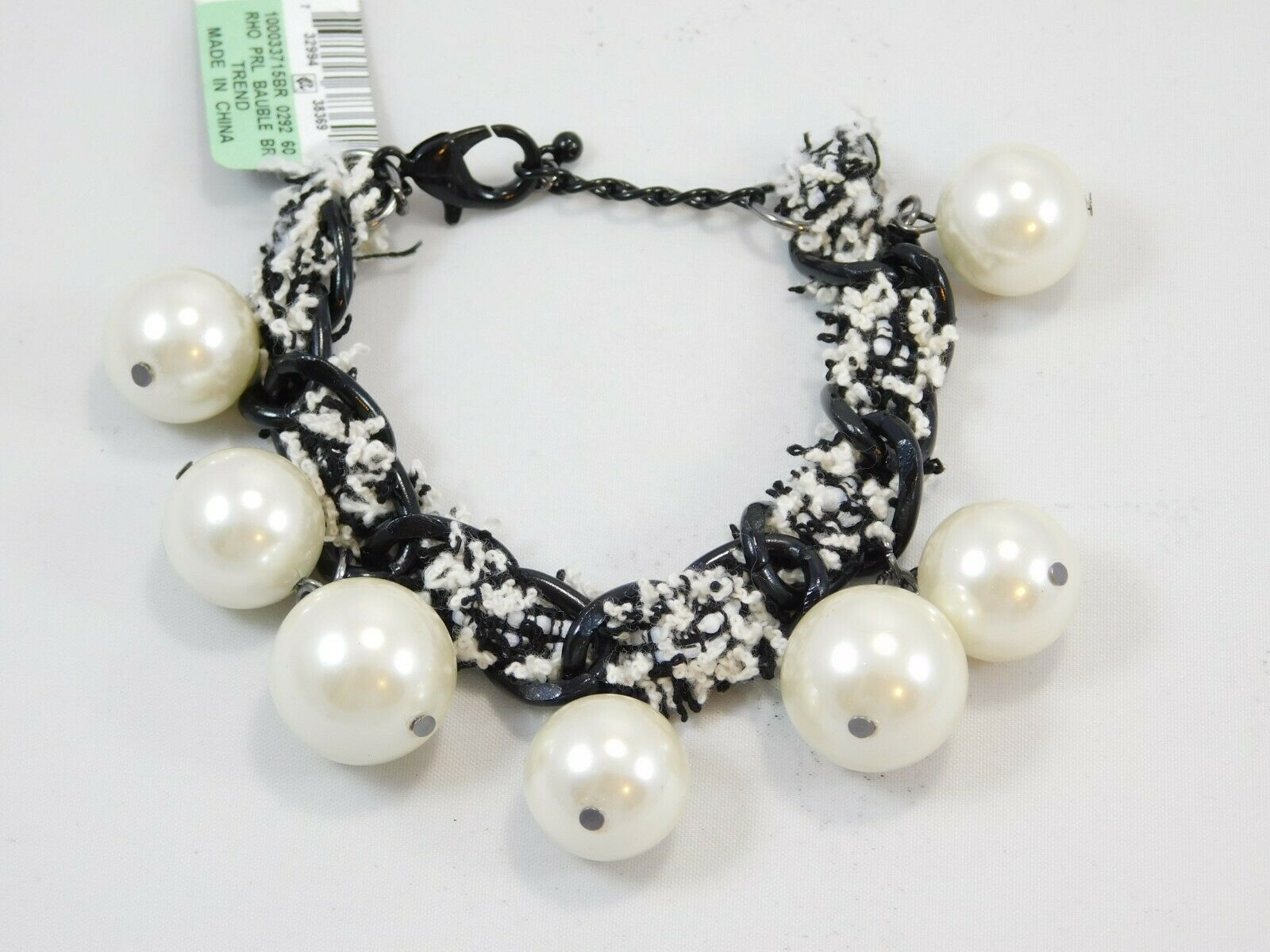 I.N.C. Silver-Tone Imitation Pearl Fabric-Weaved Flex Bracelet