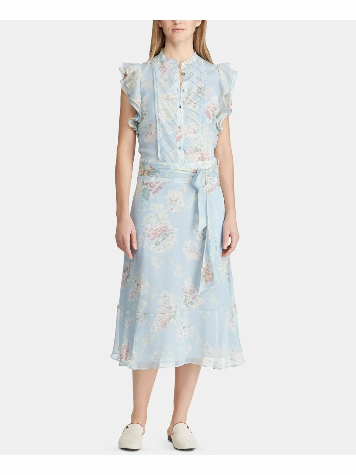 Ralph Lauren - Blue Floral Ruffled Sleeves Shift Party Dress