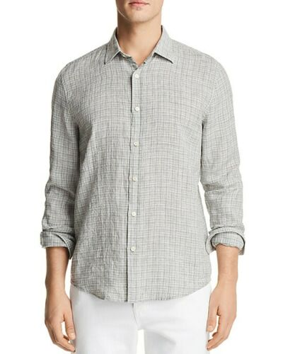 The Men's Store - Linen Patterned Long Sleeve Button-Down Shirt