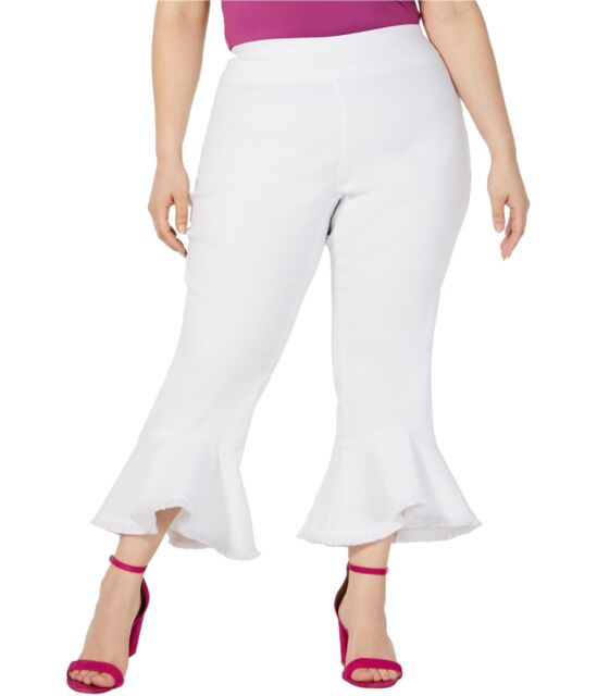 INC Womens Plus Ruffled Mid-Rise Cropped Pants