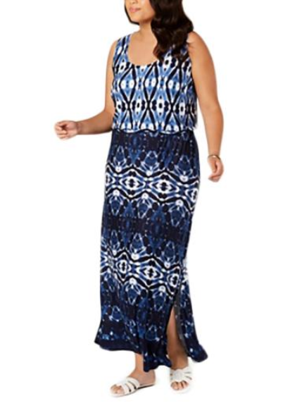 INC Womens Sleeveless Tie-Dye Maxi Dress